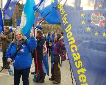 Frederika waving the Best for Doncaster flag in Westminster | Yorkshire for Europe