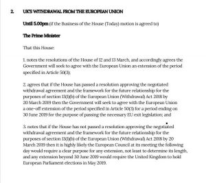 Article 50 extension motion 14th March 2019