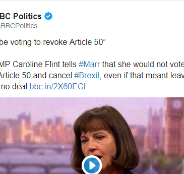 Caroline Flint tells Andrew Marr she won't revoke A50 to stop no deal